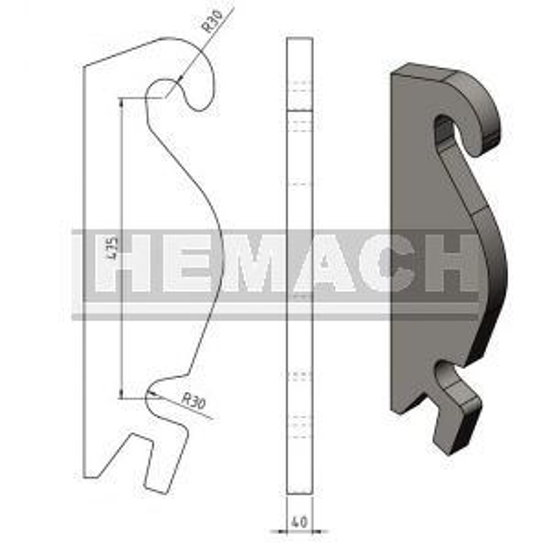 Aanlashaak CW3 / CW30 hamer ophaning, 40MM
